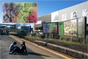 Mixed media on paper (inset), reproduced as billboards